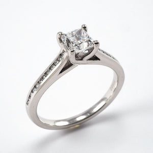 Solitaire with Channel Set Shoulders - 0.85ct