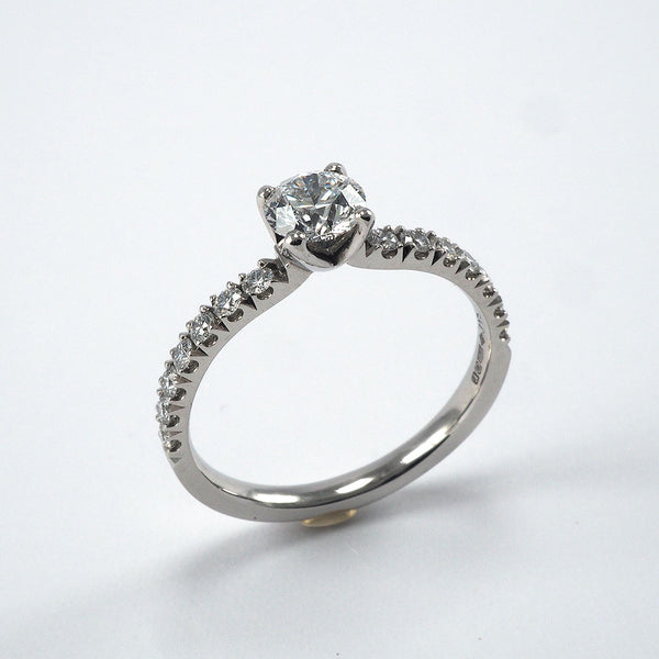 Solitaire with Claw set Diamond shoulders - 0.75ct