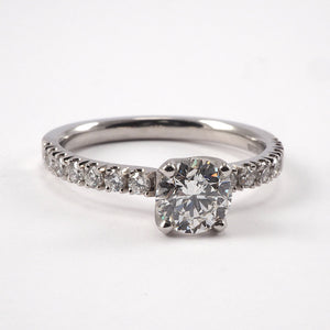 Solitaire with Micro set diamond shoulders - 0.95ct