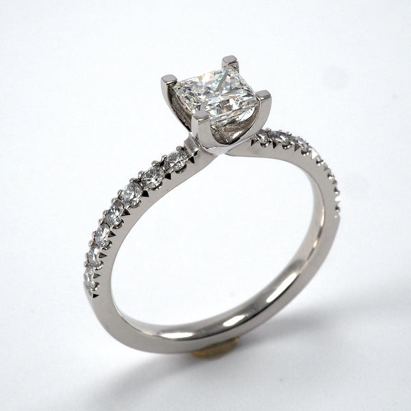 Solitaire with Diamond Shoulders - 0.79ct