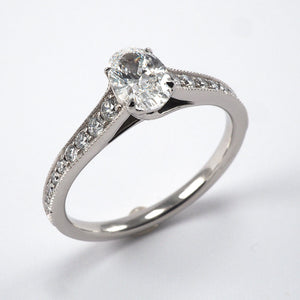 Oval Solitaire with Diamond shoulders - 0.77ct