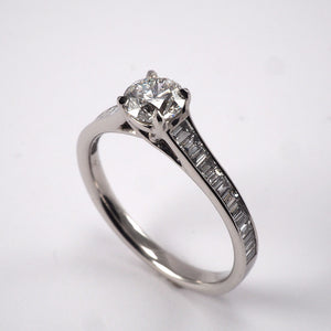 Solitaire with Baguette Shoulders - 0.85ct