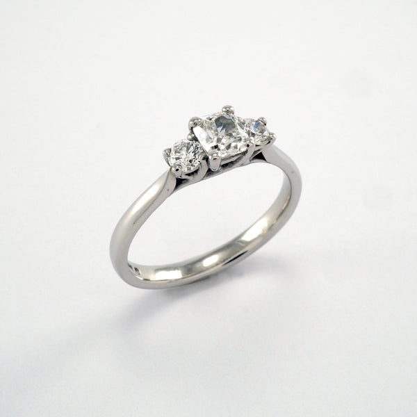 Cushion Cut 3 stone 0.74ct