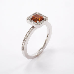 Orange Diamond Cluster Ring with Diamond Shoulders