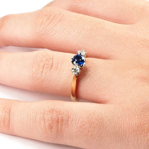 3 Stone Tulip Set Sapphire and Diamond Ring