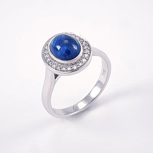 Cabochon Sapphire with Diamond Halo Ring