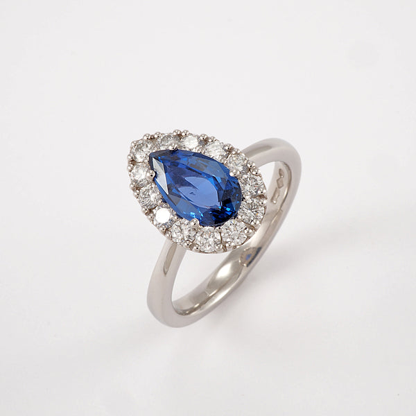 Pear Sapphire with Diamond Halo Ring