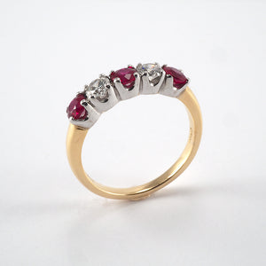 5 Stone Ruby & Diamond Ring