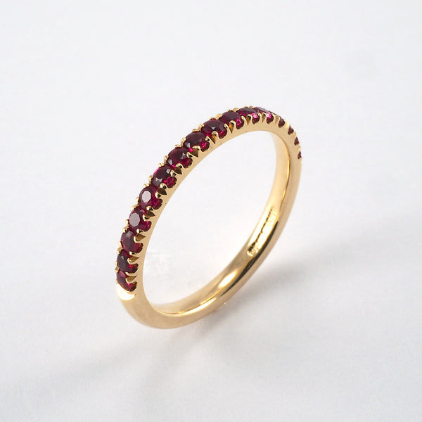 Yellow Gold Ruby Half Eternity Ring