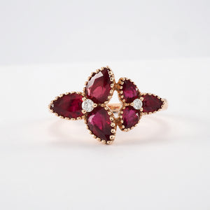 Rose Gold Trefoil Ruby Ring