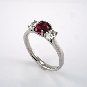 3 Stone Ruby & Diamond Ring