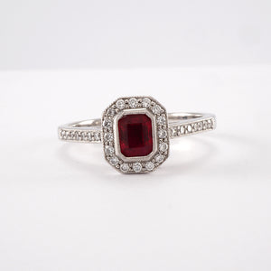Ruby Cluster with Diamond Shoulders