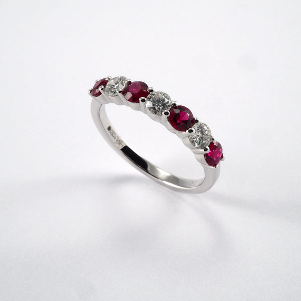 7 Stone Ruby & Diamond Ring