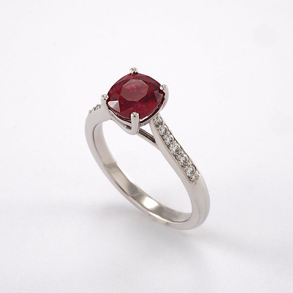 Ruby Solitaire with Diamond Shoulders