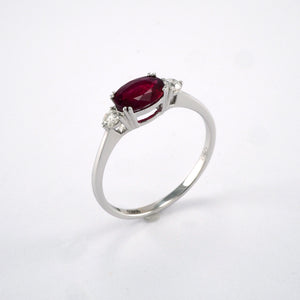 3 Stone Oval Ruby and Diamond