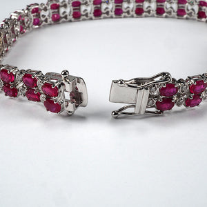 Double Row Ruby and Diamond Line Bracelet