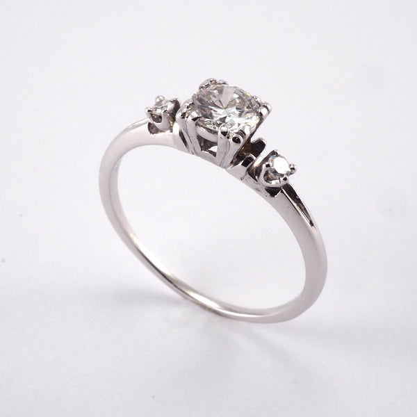 Vintage Solitaire with Diamond shoulders