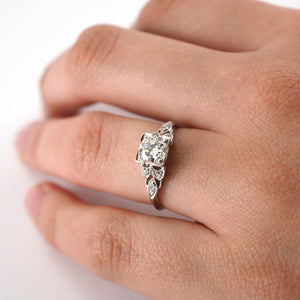 Vintage Solitaire Ring with Decorative shoulders