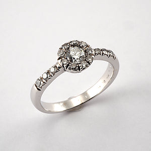 Vintage Round Cluster with Diamond Shoulders