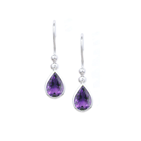 London Road - Amethyst Bead Drop Earrings
