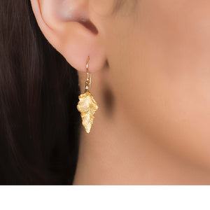 London Road - Gold Leaf Drop Earrings