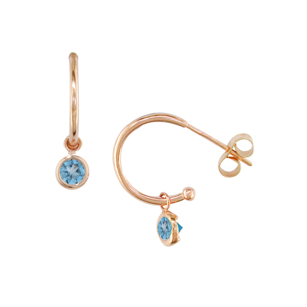 London Road - Blue Topaz Dew Drop Hoops