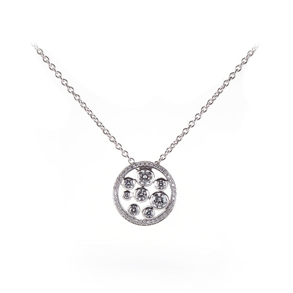 18ct White Gold Diamond Bubbles Round Pendant