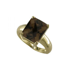 Classic Yellow Gold Smokey Quartz Ring