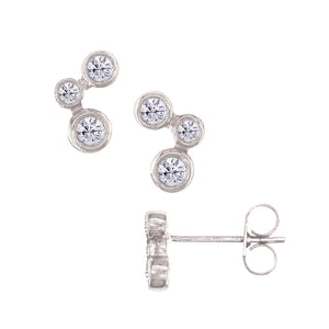 London Road - White Bubble Stud Earrings