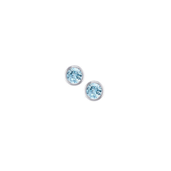 London Road - White Gold Aquamarine Raindrop Studs