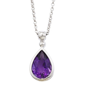 London Road - Amethyst Bead Drop Pendant