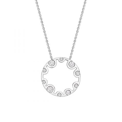 18ct White Gold Echo Diamond Circle Pendant