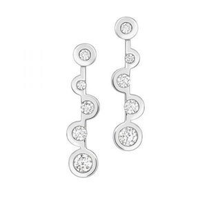 Echo - 18ct White Gold Drop Diamonds Earrings