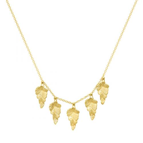 9ct Yellow Gold Falling Leaves Necklace
