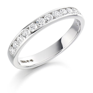 Platinum Round Diamond Channel Set - 3mm