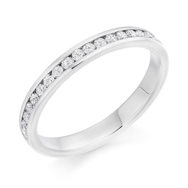 Platinum Round Diamond Channel Set - 2.8mm