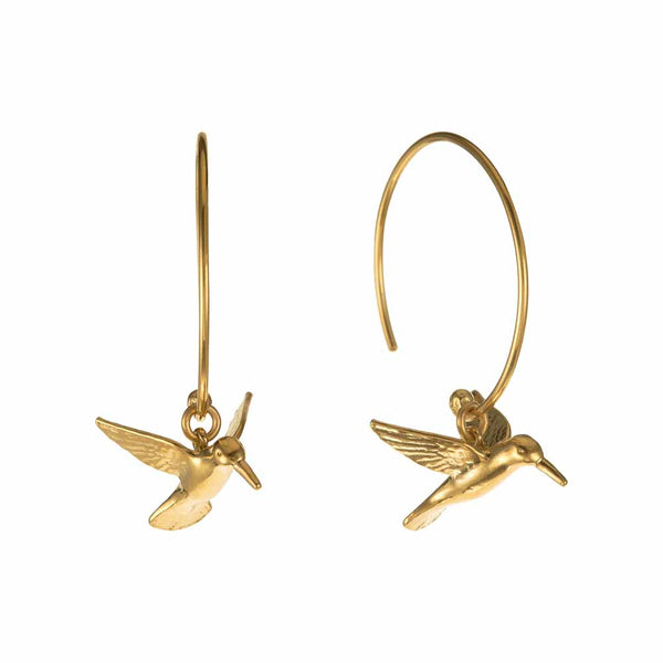 Alex Monroe Hummingbird Hoop Earrings
