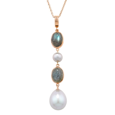 London Road - Labradorite and Pearl Drop Pendant