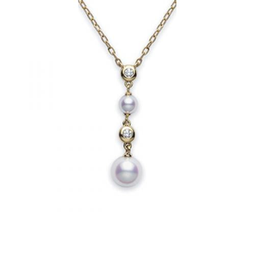 Mikimoto Classic 18ct Yellow Gold Akoya Pearl & Diamond Pendant