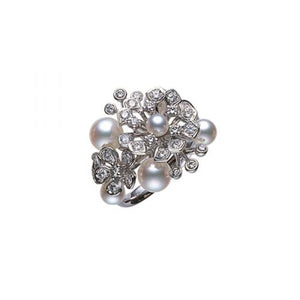 Mikimoto 18ct White Gold Floral Bouquet Ring