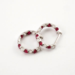 Diamond and Ruby Hoops