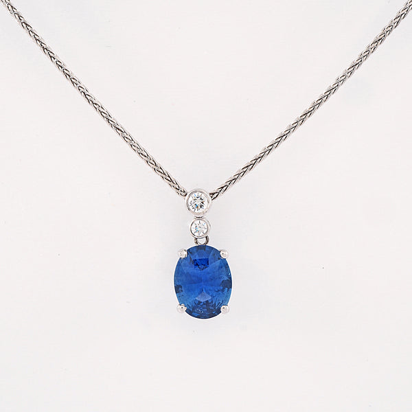 Oval Sapphire and Diamond Drop pendant