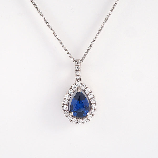 Pear Sapphire with Diamond Halo Pendant
