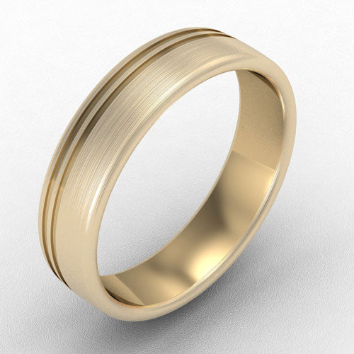18ct yellow gold Offset tramline band