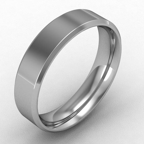 Platinum Flat court bevelled band