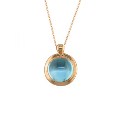 Rose Gold Blue Topaz Bubble Pendent