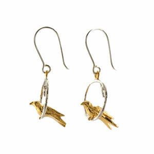 Tiny Bird Loop Earrings