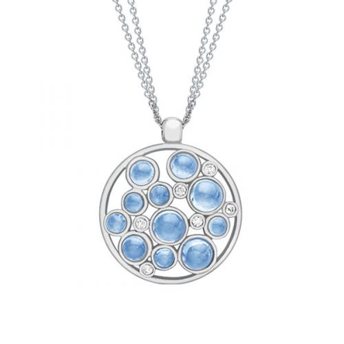 White Gold Blue Topaz & Diamond Bubble Pendent