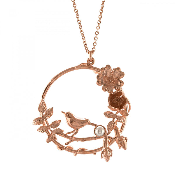 Alex Monroe Wildrose Bird Loop Necklace