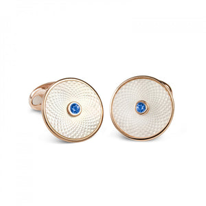 Deakin and Francis White Mother-Of-Pearl Cufflinks With A Sapphire